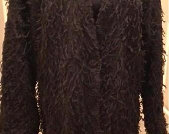 Vintage boho chic black shag jacket