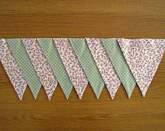 Ditsy Pink Floral and Green Polka Dot Lined Fabric Bunting