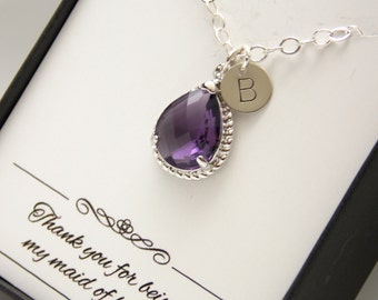 Purple Necklace, Sterling Silver, Initial Necklace, Amethyst Tanzanite Personalized Bridesmaid Necklace, Bridesmaid Jewelry, Wedding Jewelry