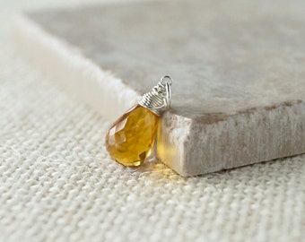 Citrine Pendant - Sterling Silver Wire Wrapped Yellow Quartz Dangle -  Yellow Citrine Quartz Gemstone Necklace Jewelry - November Birthstone