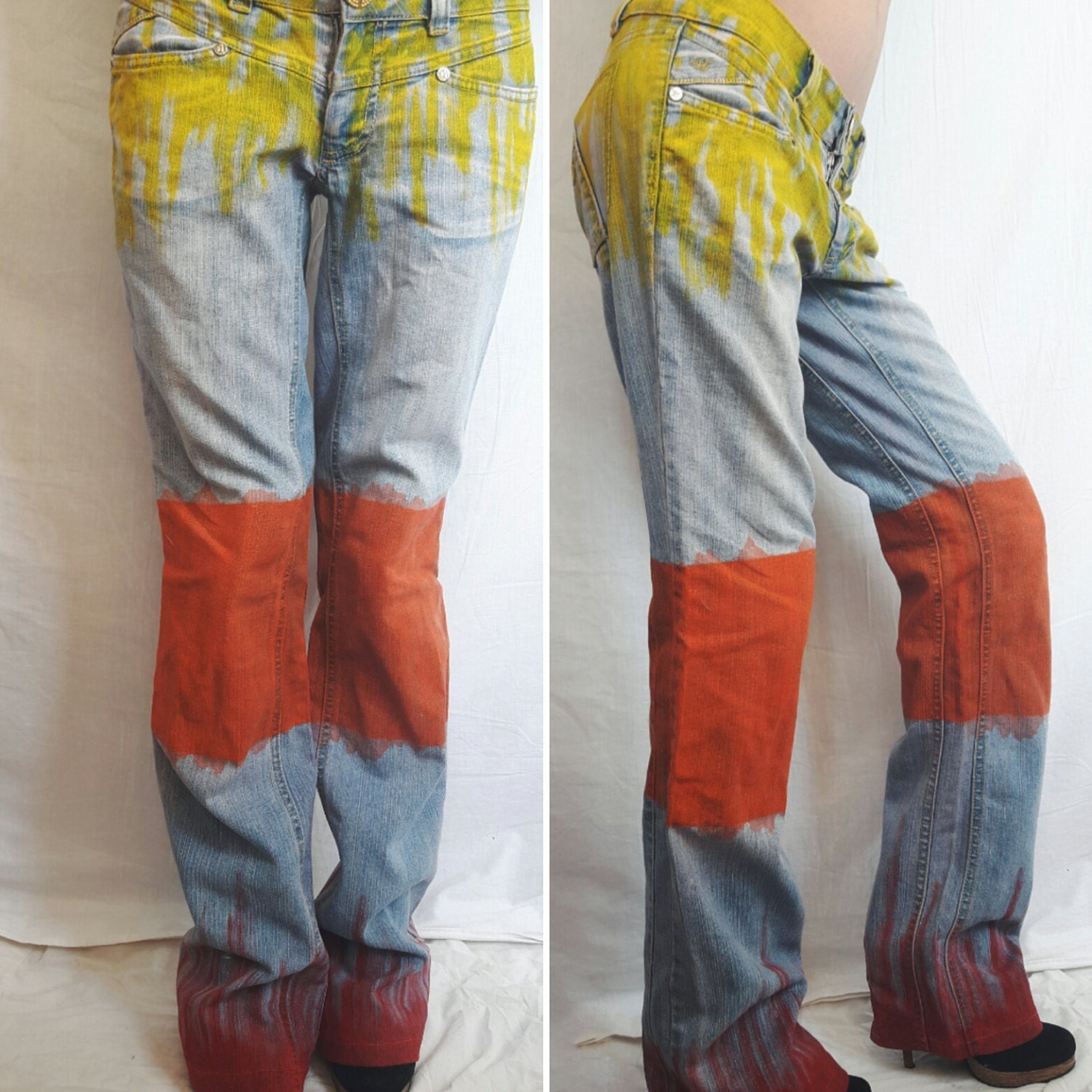 hand painted jeans with low waist straight jeans painted in. Black Bedroom Furniture Sets. Home Design Ideas