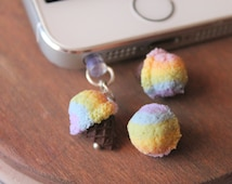 Rainbow ice cream dust plug charm, handmade with polymer clay, miniature food jewelry, cute dust plugs, iphone dust plugs, phone accesories