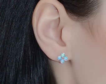 3mm Opal STUD EARINGS Silver // Small Stud Earrings - 20 Gauge - Cartilage Earring Studs - Cartilage Piercing - Helix Earring Stud