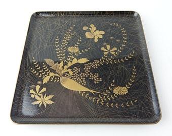 Japanese antique lacquered wooden tray, daikon radish,ref2