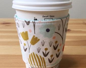 Organic Reusable Fabric Coffee Cozy, Fabric Coffee Sleeve