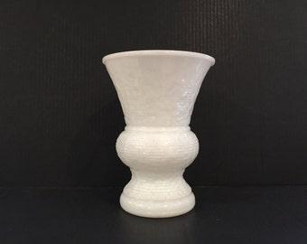 Milk Glass Vase, Wedding Centerpiece, Vintage Textured Tall White Milk Glass Vase, LARGE Wedding Table Centerpiece White Vase