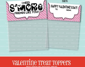 VALENTINE TREAT TOPPER, S'more Friends Like You, Treat Bag Topper, Valentine, Goody Bag, S'mores, Treat Topper, Valentine's Day, Printable