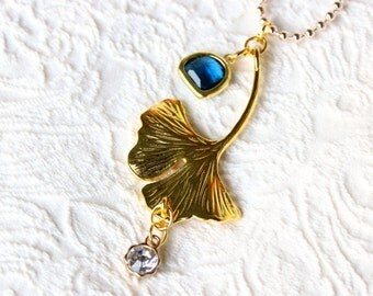 ERSE-ginkgo biloba leaf necklace, crystal blue and dew drop