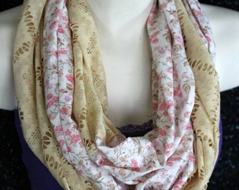 SALE - Lace and flowers, infinity fashion scarf, two tone, mixed media, vintage look, gifts under 15 dollars, wife, daughter, gifts for her