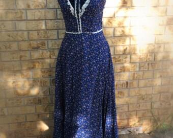 Gunne Sax Jessica McClintock Vintage Blue Calico Sundress