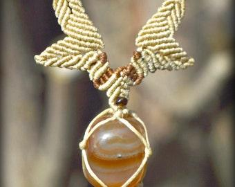 Agate Macrame necklace\handmade\micromacrame\Agate gemstone