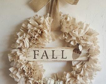 Rustic, handmade, shabby chic FALL rag wreath