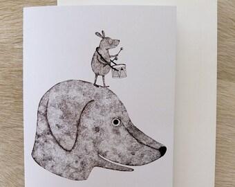 Me and my little drummer boy greeting card / invitation card  - Original illustration by Nana Sakata