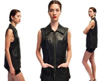 Vtg 80s 90s Leather Black Zip Up Vest