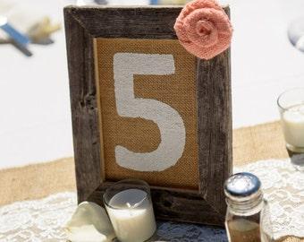 Wedding,Table Numbers,Burlap,Rustic Wedding,Burlap Decor,Burlap Flower,