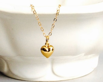 heart necklace, gold filled necklace, puff heart, bride, gold heart, sisters gift, flower girl, jr bridesmaids, girls necklace, bridesmaids