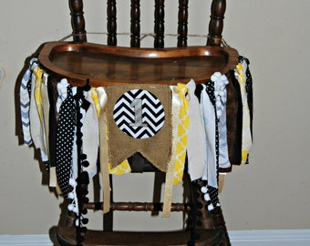 1st Birthday High Chair Banner - Yellow/Black/Grey