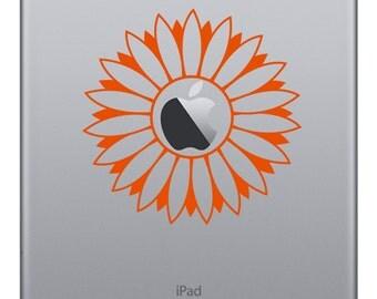 Sunflower Laptop Sticker,  Flower Vinyl Decal, Car Bumper Sticker, Floral MacBook Pro Air Sticker, Laptop Decal Removable Ipad Light Sticker