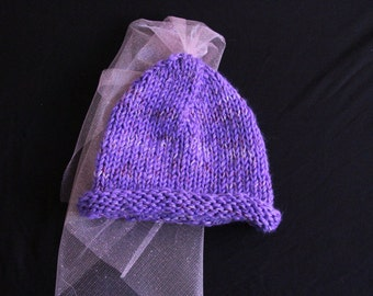 Purple Princess Knitted Toddler Hat