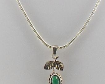 Emerald precious stone Silver 925 necklace