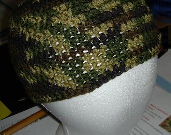 Beanie, Hat, Camouflage Crochet Beanie