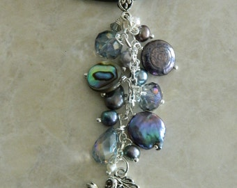 Swirly Mermaid Pearl, Swarovski & Charm Necklace
