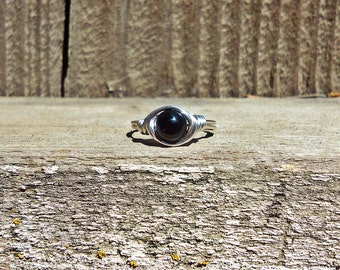 Round Black Onyx Gemstone Wire Wrapped Ring Bohemian Gypsy hippe Jewelry BOHO