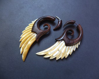 Angel Wing Earrings Boho Shell Earrings Wood Earring Shell Jewelry