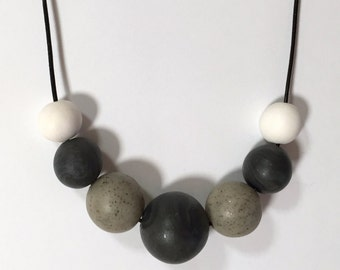 Neutral, Black, White and Granite, Polymer Clay, Beaded Necklace