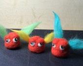 Needle Felt Mini Monster - TUFTY BUTT MITE (Orange/Blue) - Needle Felted Miniature Monsters In A Jar - Weird Gift - Geeky - Fiber Art