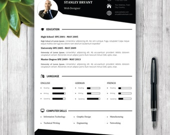 Unisex Resume Template and Cover Letter Portfolio Template