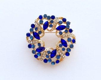 Blue Gold Crystal Rhinestone Brooch Wedding Accessories Bridal Brooch Brooch bouquet Hair comb