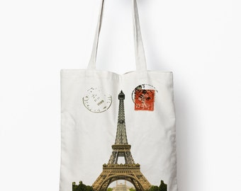 Eiffel tower tote bag, vintage paris bag, canvas tote bag