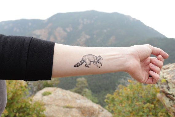 Raccoon Temporary Tattoo, Black Ink Raccoon, Forest Animal Tattoo, Nature Tattoo