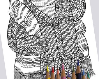 KNIT SWEATER Coloring Page / Printable Coloring Page / Drawing of Knitting / PDF Floral Art / Knitted Sweater