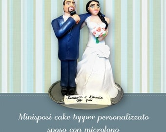 Wedding cake topper Bride and groom figurines with a microphone Custom cake topper figures Funny wedding topper Realistic people cake topper