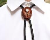 Handcarved Hawk Bolo Tie, Avocado Bolo Tie, Father's Day Gift, Western Bolo Tie, Hunter Bolo Tie, American Indian Hawk