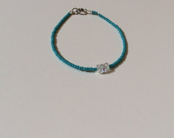 Pretty turquoise bead and swarovski crystal friendship bracelet