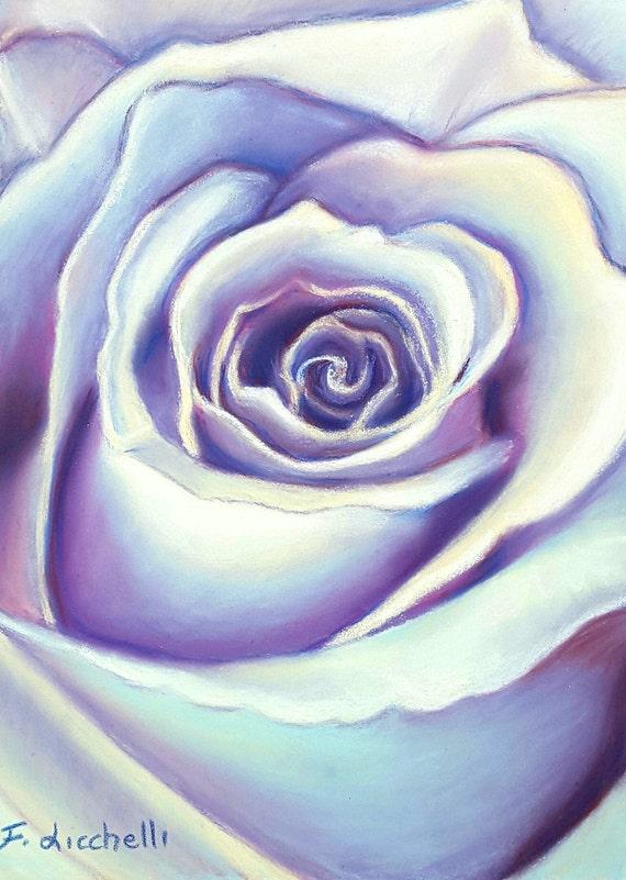 Pastel drawing, purple rose, ooak, Original drawing, Soft pastels on Pastelmat paper, mom birthday, contemporary art, bedroom decoration.