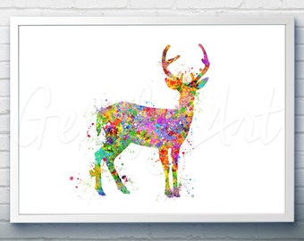 Antler Stag Deer Watercolor Art Print  - Watercolor Painting - Animal Watercolor Art Painting - Antler Stag Deer Poster - Wall Decor [1]