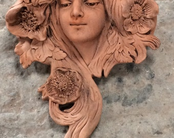 Terracotta Art Nouveau Style Garden Wall Planter - Right Hand Version