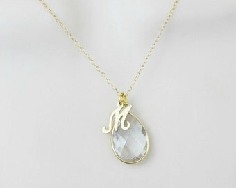 Crystal Quartz Necklace, Birthstone Necklace, Initial Necklace, Personalized Necklace, Dainty Necklace, Minimal Necklace, April Birthstone