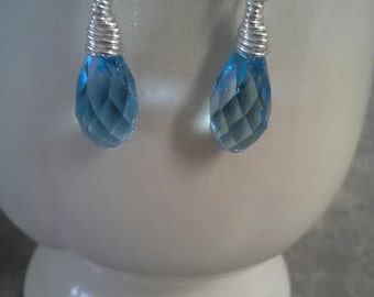 Swarovski Aquarmarine Crystal Earrings