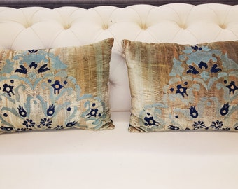 Set of Two (2) Embroidered Kidney Pillows, 25x17