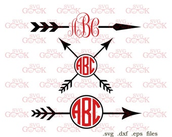 Arrow Monogram Frame SVG cut files, Arrow svg cut files for use with Silhouette, Cricut and other Vinyl Cutters, digital cut file