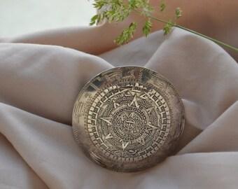 Colgante de plata pagan-estilo vintage con calendario azteca, Azteca calendario colgante, colgante de plata Vintage