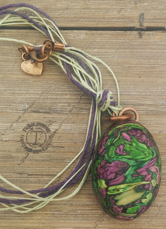 Waxed Irish Linen Tumbleweed Necklace