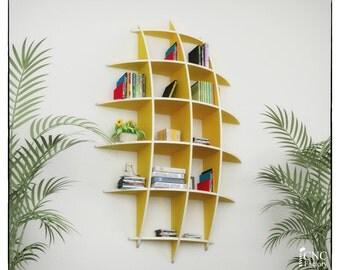 SAIL BOOKCASE - cnc template cutting file - Sliced 3d Model Floating Shelves, Hanging Bookshelf, Bookshelves, Wall Shelf,  Living Room