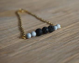 Essential Oil Diffusing Bracelet with Howlite and Black Lava Stones