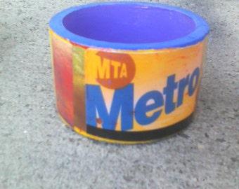 NYC Metro Card cuff bangle